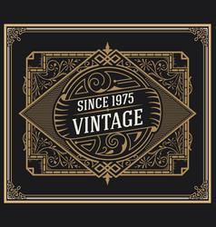 vintage logo inside of floral card vector image