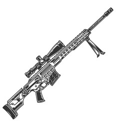 Vintage sniper rifle template vector