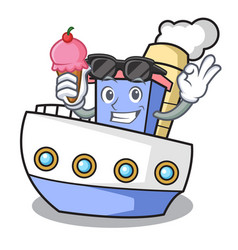 with ice cream ship character cartoon style vector image