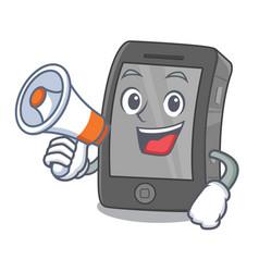 With megaphone ipad in a mascot bag vector