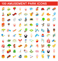100 amusement park icons set isometric 3d style vector image