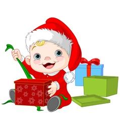 Christmas baby open gift vector image vector image