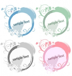 circle floral frame set vector image vector image