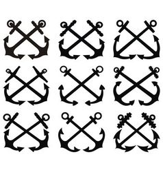 Crossed anchor silhouettes set vector image vector image