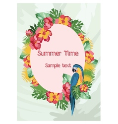 Exotic tropical Summer card with flowers vector image vector image