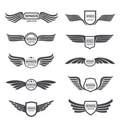 flying eagle wings logos set vintage vector image