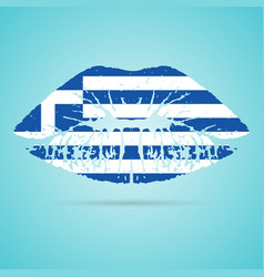greece flag lipstick on the lips isolated on a vector image