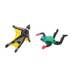 skydiver man parachutist extreme sport freedom vector image