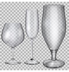 Transparent empty glass goblets vector image