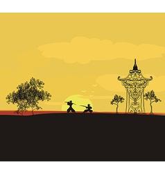 Fighting Samurai silhouette at sunset Asian vector image