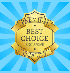 premium quality exclusive golden label guarantee vector image vector image