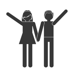 silhouette couple together romantic love vector image