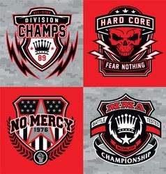 Sports shield emblem graphic set vector image