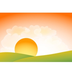 Sunset over hills vector image vector image