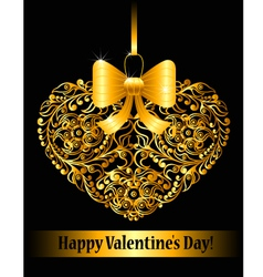 Valentines day card with ornamental heart vector image