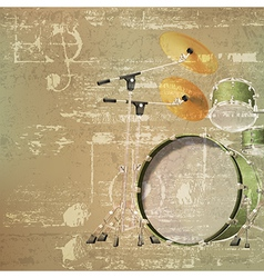 abstract green sound grunge background with drum vector image vector image