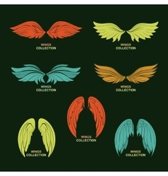 Wing set stylized wings vector image vector image