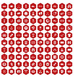 100 sport journalist icons hexagon red vector