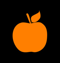 apple sign orange icon on black vector image