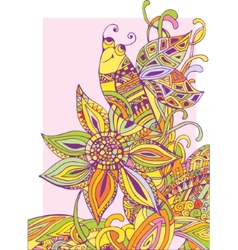 Colorful background a flower and a bee vector image
