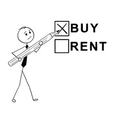 conceptual cartoon of buy or rent business vector image vector image