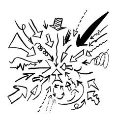 doodle arrow set sketch hand drawn vector image vector image