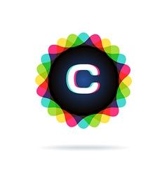 Retro bright colors logotype letter c vector