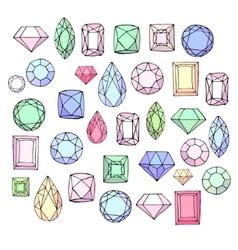 Set with diamonds jem stonesjewellery Stylized vector image