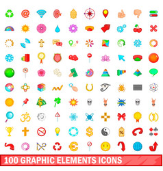 100 graphic elements icons set cartoon style vector image