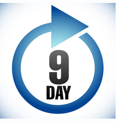 9 day turnaround time tat icon interval for vector