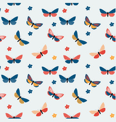 Abstract hand drawn butterfly seamless pattern vector
