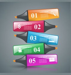 Abstract marker drawing 3d infographics vector