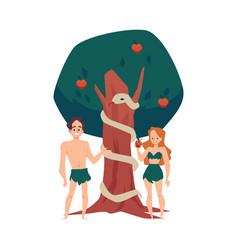 Adam and eve eating forbidden fruit in eden flat vector