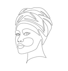 African woman in turban portrait line drawing vector