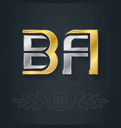 b and a - initials ba - metallic 3d icon or vector image