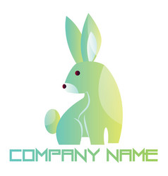 bagreen and blue rabbit logo design on a white vector image