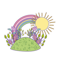 beautiful cute garden with rainbow scene vector image