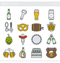 beer color icons set vector image