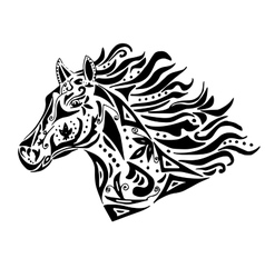 Black horse coloring or tattoo in circus style vector image