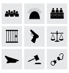 black justice icons set vector image