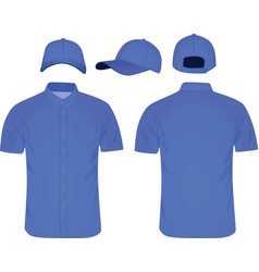 blue shirt and baseball cap vector image