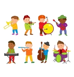 Cartoon musician kids for vector