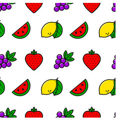 Casino fruits simple line style seamless pattern vector
