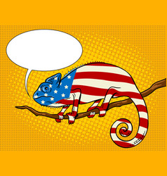 Chameleon colored in american flag pop art vector