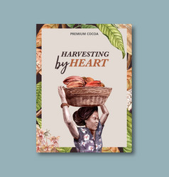 Chocolate poster design with woman harvesting vector
