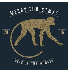 Christmas emblem monkey vector