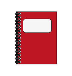 color silhouette cartoon red notebook spiral vector image