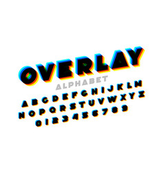 colorful overlay font alphabet letters and numbers vector image