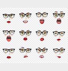 Comic emotions woman with glasses facial vector