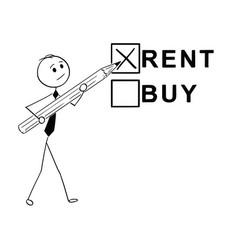 Conceptual cartoon of buy or rent business vector